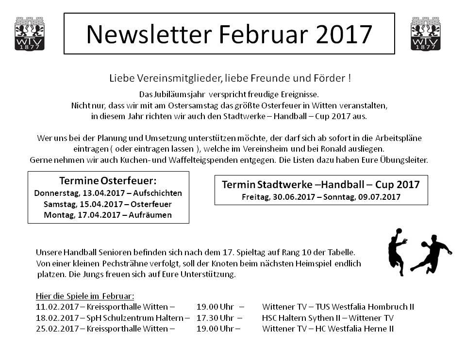 Newsletter Februar 2017