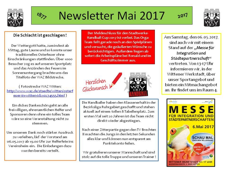 Newsletter Mai 2017